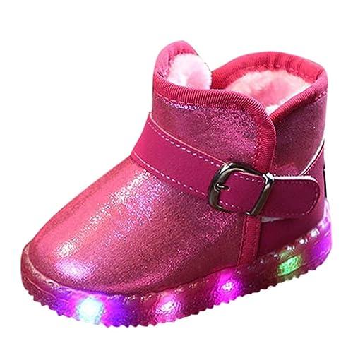 HCFKJ Bebé Niño Niña Invierno Zapatos Botas Lindos Moda Casuales LED Luz hasta Zapatillas Luminosas Invierno