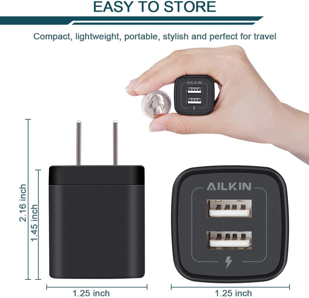 Samsung Galaxy S7 S6 HTC Motorola and More iPod Wall Charger Ailkin 2.1Amp 2-Port USB Phone Charger Home Travel Plug Power Adapter Replacement for iPhone X 8//7//6 Plus//5S//4S,iPad 2Pcs LG Table