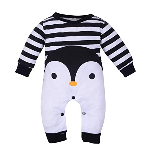 a074a7bac88 Wesracia Winter Baby Girls Boys Long Sleeve Cotton Striped Penguin Print Romper  Jumpsuit Pajamas Outfits (