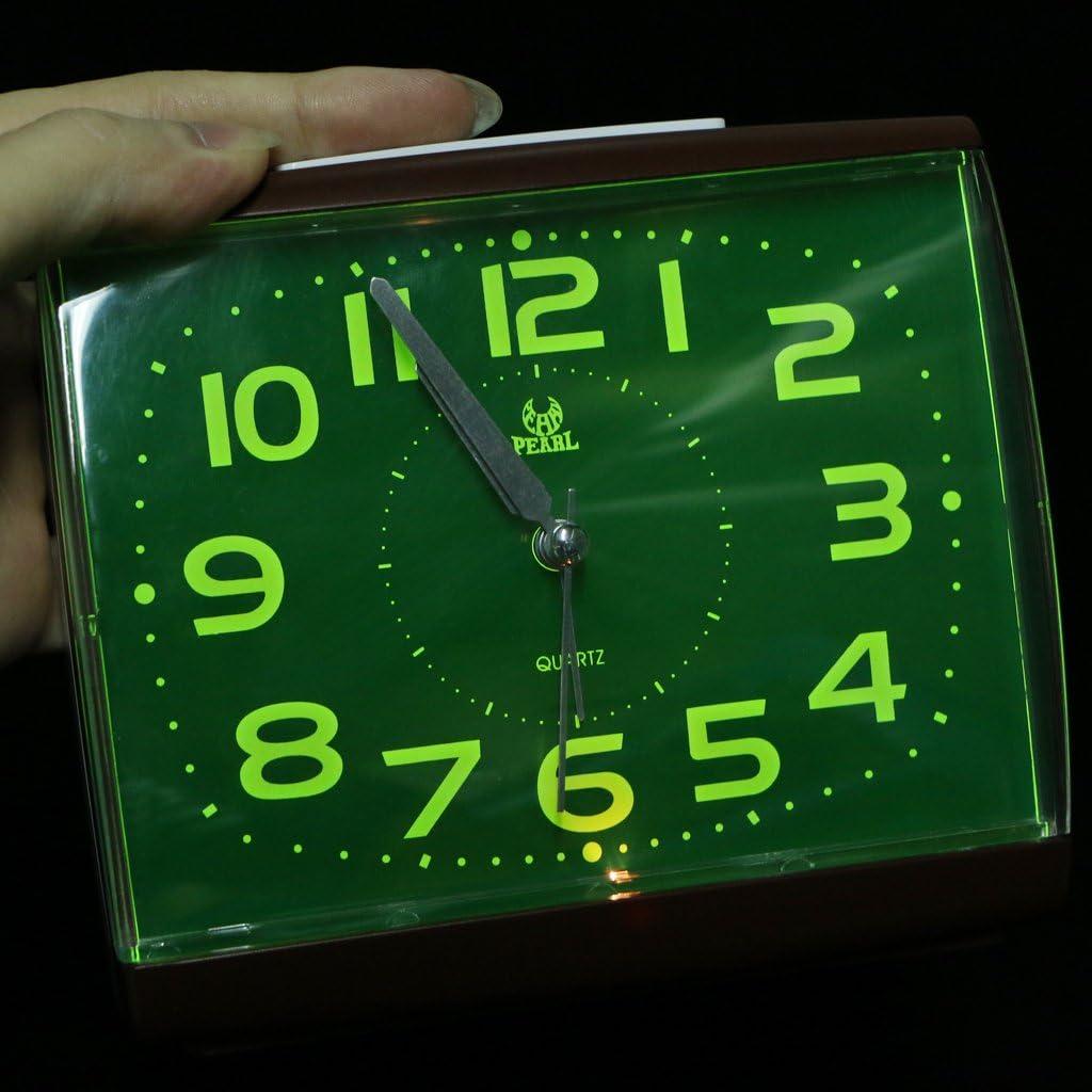 Amuzocity R/éveil Analogique Silencieux Non-Ticking Chevet Table Bip Avec Veilleuse Brun vert