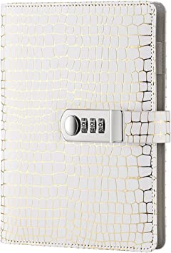 Digital Password Journal Combination Lock Diary Locking A6 Refillable Leather Journal White