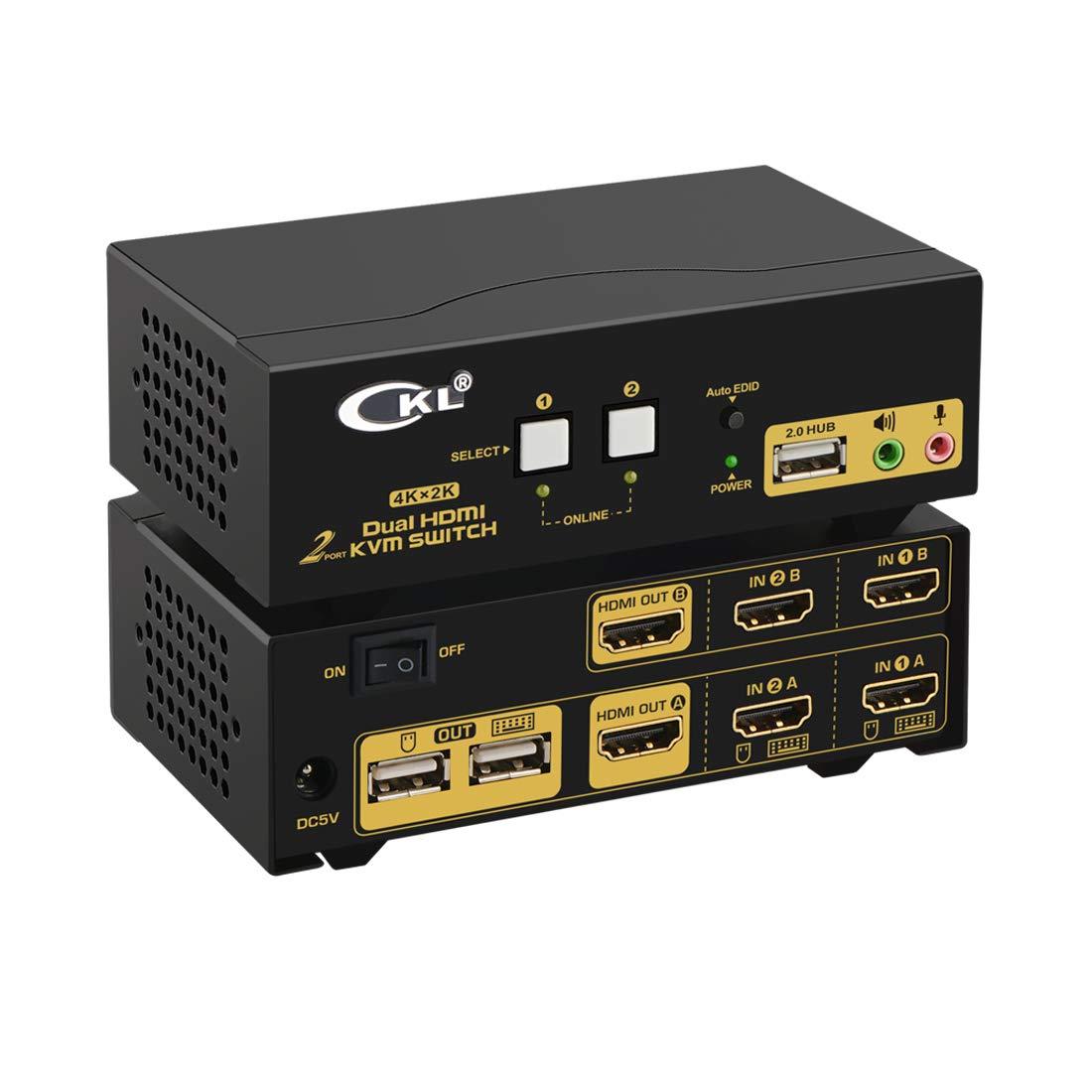 CKL HDMI KVM Switch 2 Port Dual Monitor Extended Display (CKL-922HUA) by CKL