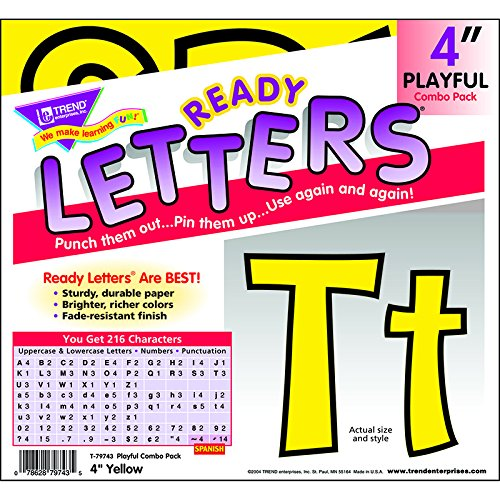 """Trend T79743 Ready Letters Playful Combo Set, Yellow, 4""""h, 2"""