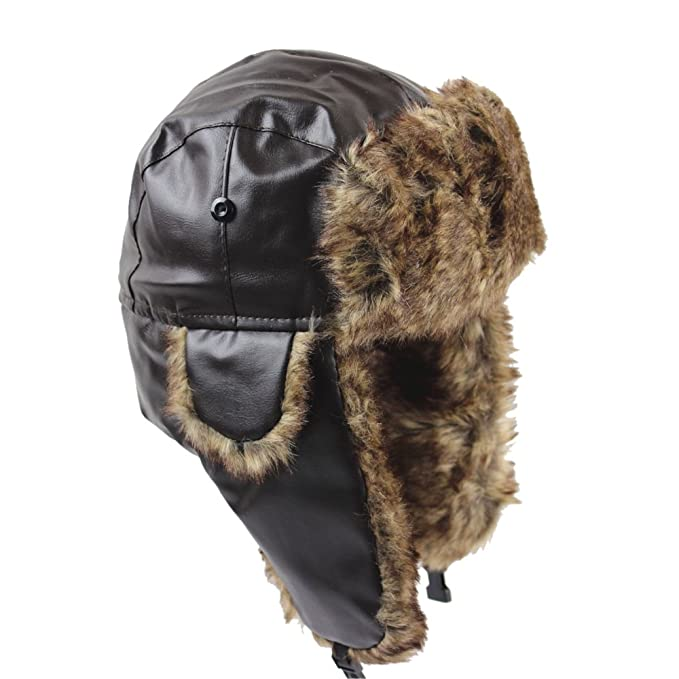 WEESDON Men s Winter Warm PU Faux Fur Earflap Bomber Hats Trapper Hat Coffee 7e8fa13e518