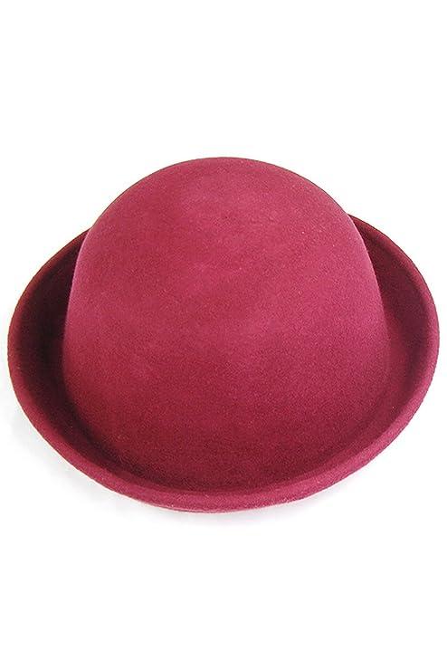 SODIAL (R) Vogue moda donne carino cappello di lana alla moda bombetta Uomo  Cloche - Vino Rosso 08e26cc25111