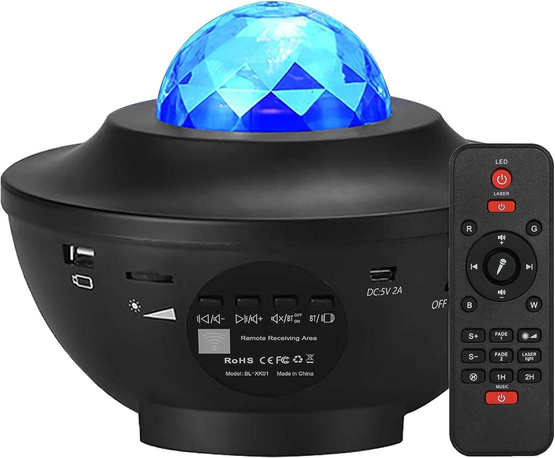 Elecstars Night Light, Star Projector with Bluetooth Speaker, Ocean Wave Bedside Lamp, Adjustable Lightness & Remote Control, Music Player, Living Room, Decor.