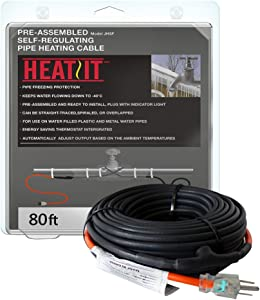 HEATIT JHSF 12-feet 120V Self Regulating Pre-assembled Pipe Heating Cable