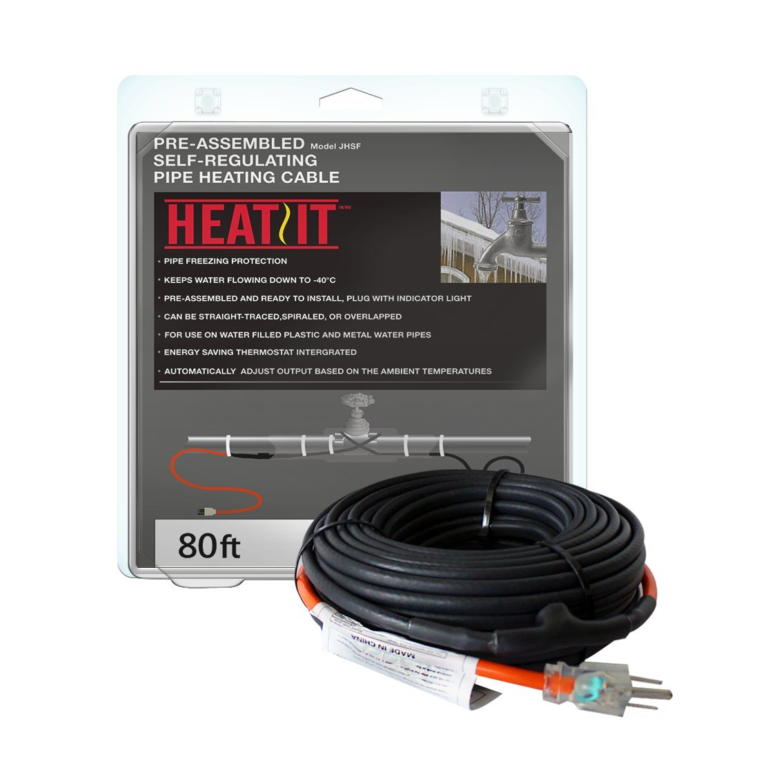 HEATIT JHSF 30-feet 120V Self Regulating Pre-assembled Pipe Heating Cable by HEATIT