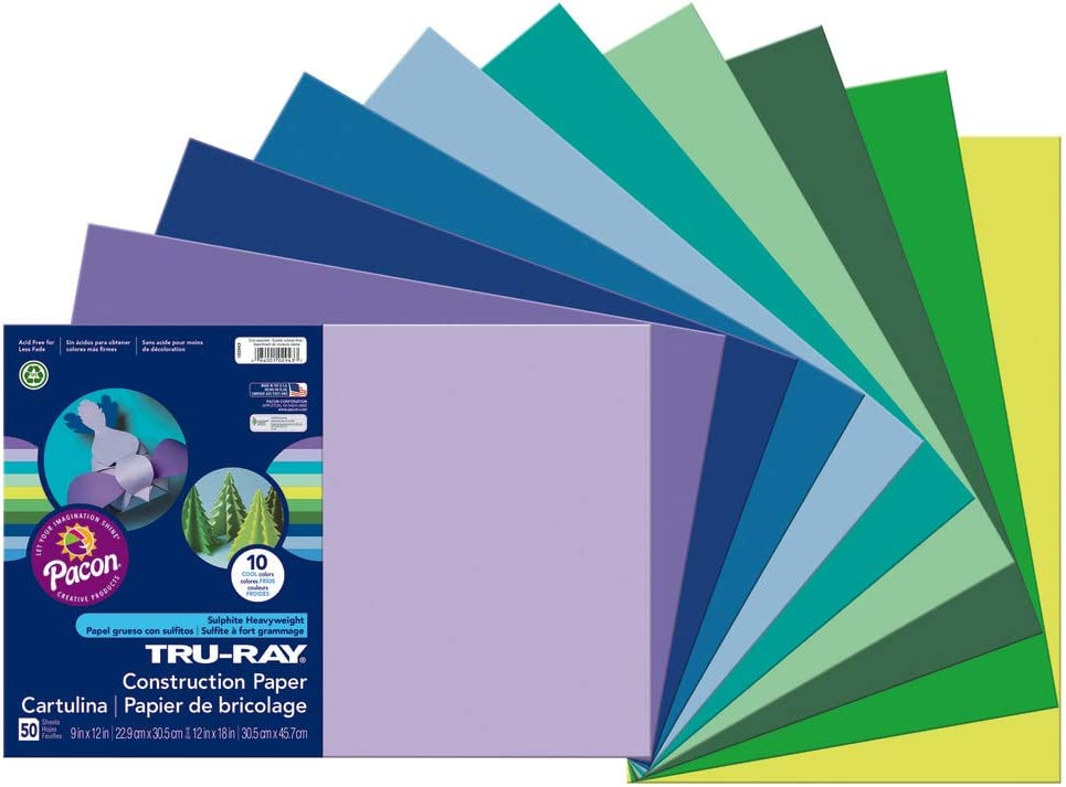 9 x 12 Inches 50 Sheets Tru-Ray Sulphite Construction Paper Dark Green