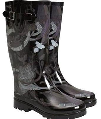 Sakroots Women's Rain Boots Black Tonal Size 6