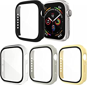 [4 Pack] Exclusives Compatible with Apple Watch 40mm Case, Full Coverage Bumper Protective Case with Screen Protector for Men Women iWatch Series 6/5/4/SE, Black, Clear, Yellow, Mint