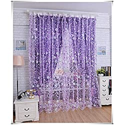AliFish 1 Panel Transparent Rod Pocket Sheer Curtains Decorative Tulle Voile Yarn Kids Room Countless Flowers Purple Floral Window Treatment Curtain Panel for Living Room