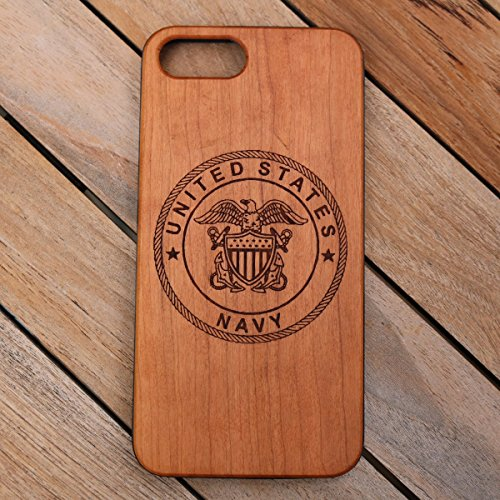 (CH7P) United States Navy Custom Engraved On A Cherry Wood Phone Case With Flexible TPU Sides For IPhone 6Plus, 7Plus And 8Plus (CH7P-NAVY)