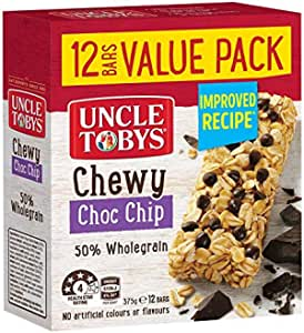 UNCLE TOBYS Muesli Bars Chewy Choc Chip, 12 Bars Value Pack, 375g