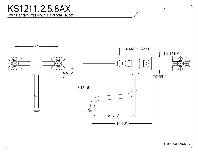 Kingston Brass KS1212AX Heritage Wall Mount 8-Inch Vessel Sink Faucet Polished Brass