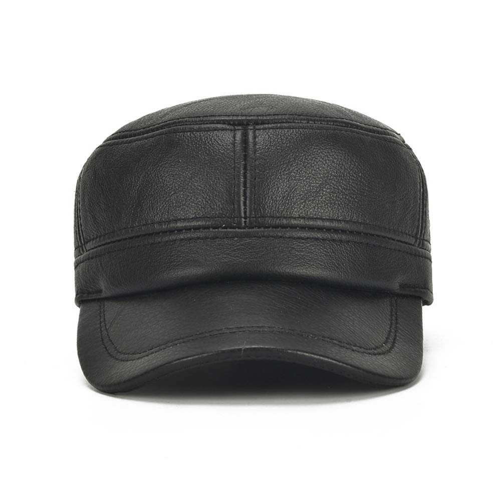 MXL Winter Leather Hat Mens Plus Cotton Warm Baseball Cap Adjustable Winter Leather Cap Gentleman Hat