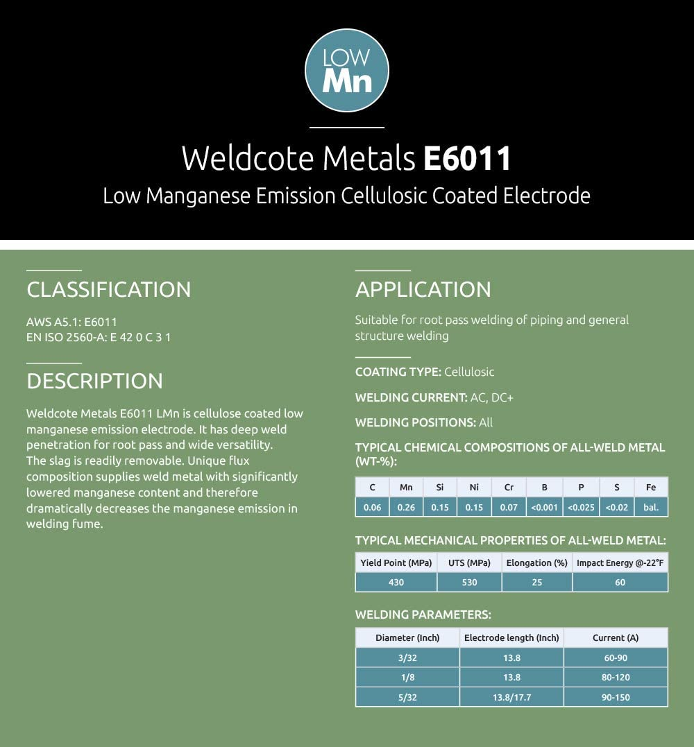 1//8-5 lbs Weldcote Metals E-6011 Low Manganese Emission Stick Welding Electrodes