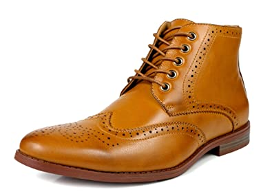 89fbfe1506d80 Fashion Mens Oxfords Wingtip Ankle Boots Dress Casual Shoes Black Tan Brown  (7.5