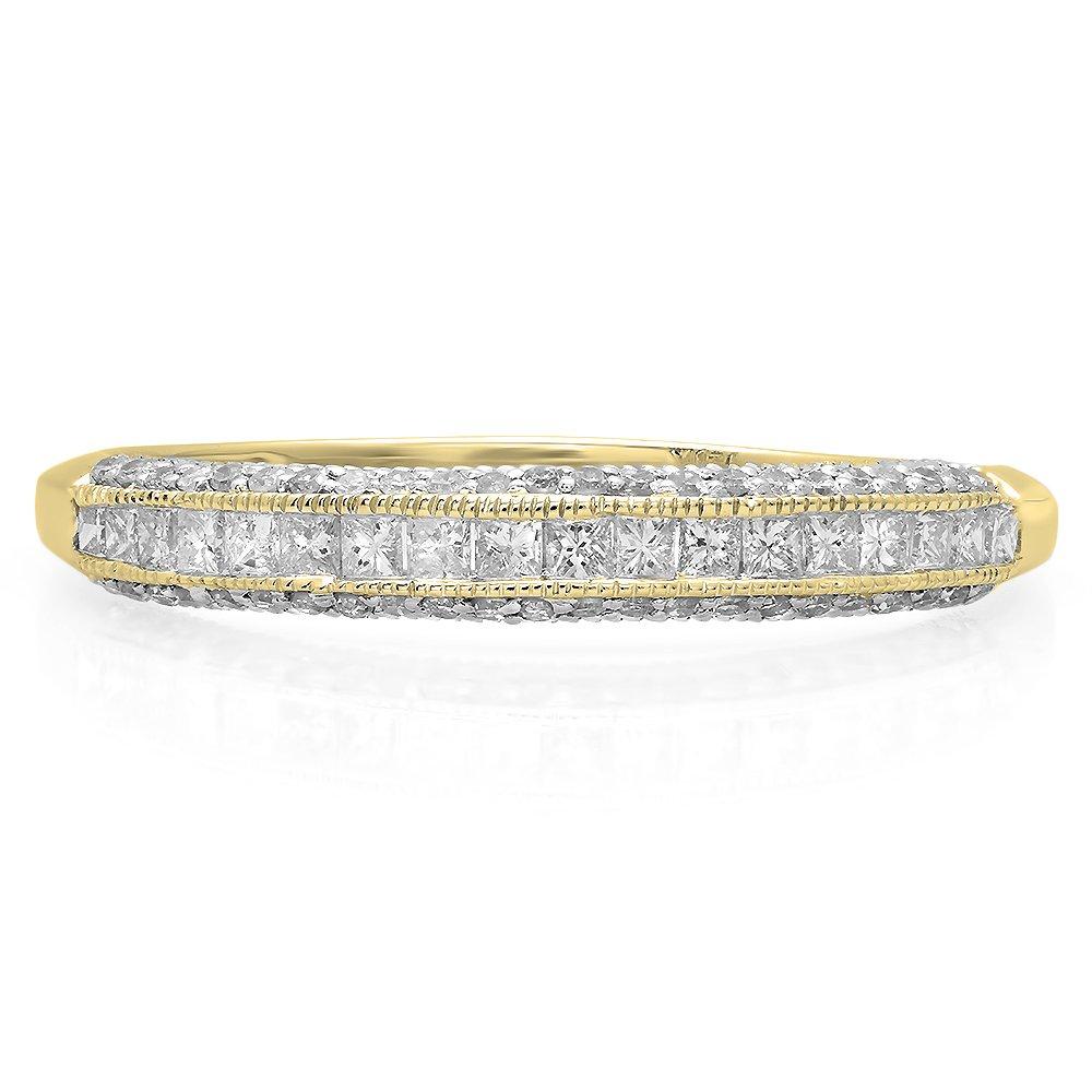 18k Gold Princess /& Round Diamond Ladies Wedding Matching Band Stackable Ring 1//2 CT Dazzlingrock Collection 0.45 Carat ctw