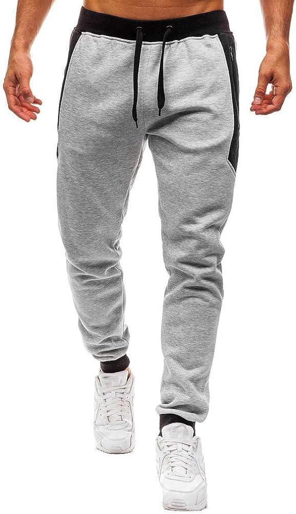 Pantalón Deporte Hombre, Estampado de Empalme Pantalón Chandal ...