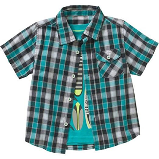 846272f30 Image Unavailable. Image not available for. Color: Healthtex Toddler Boys  new size 3T Short Sleeve Plaid Shirt ...