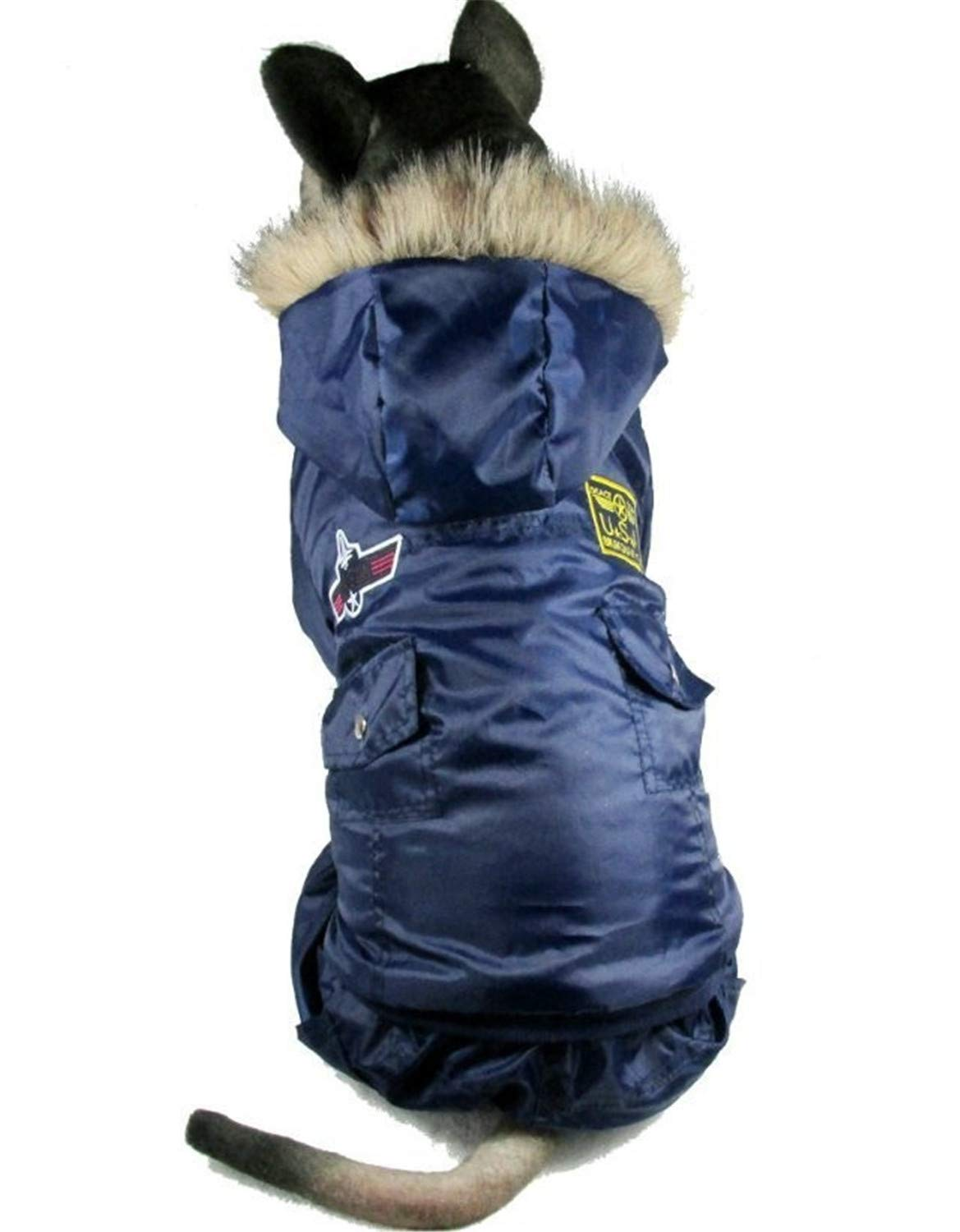bluee 5XL bluee 5XL Winter Warm Thick for Large Pet Padded Hoodie Jumpsuit Pants Apparel bluee 5XL