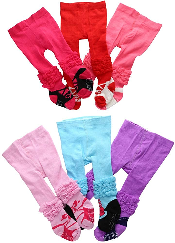 CHUNG Baby Girls Tights Knit Leggings Pants Newborn Infant Cute Cotton Stockings 6 Pack Candy Color Pantyhose for 0-12 Months