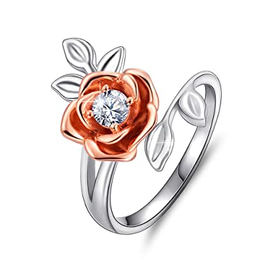 Apotie Sterling 925 Silver Rose ring simple wedding gift fashion promise engagement jewelry for women XgHvCF