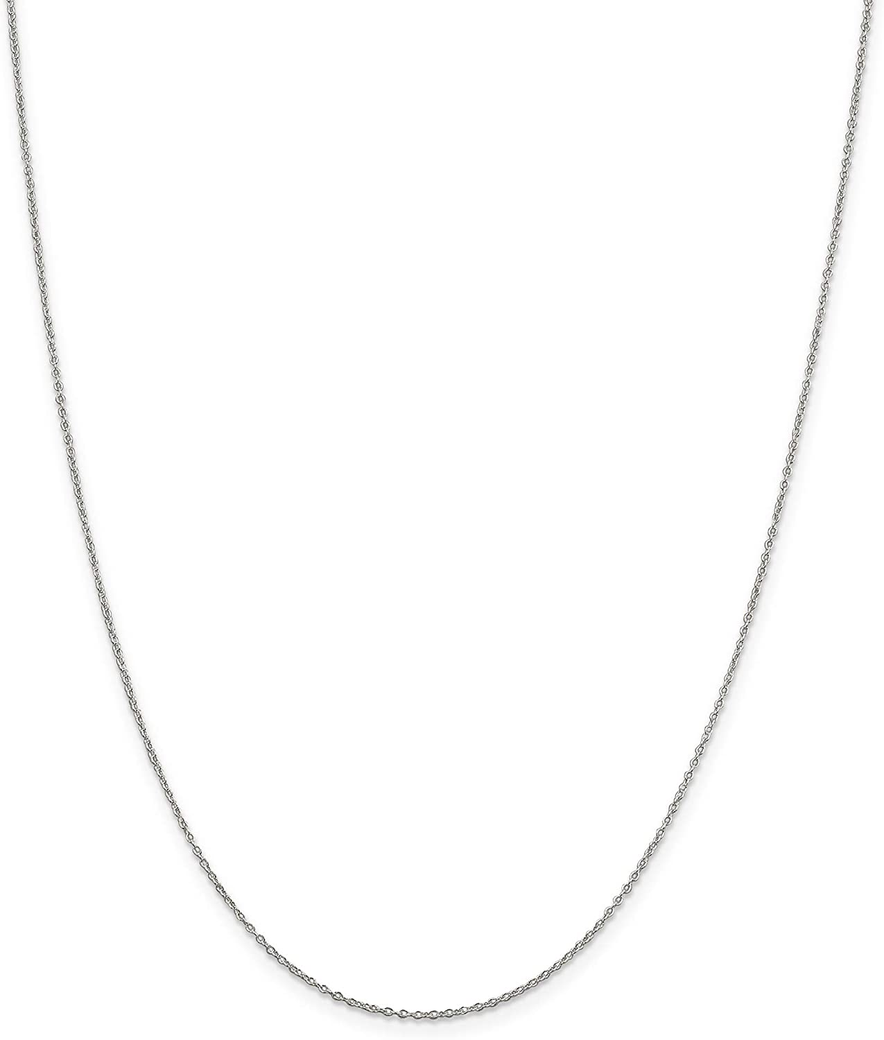 Sterling Silver Rhodium-plated 1.1mm Cable Chain
