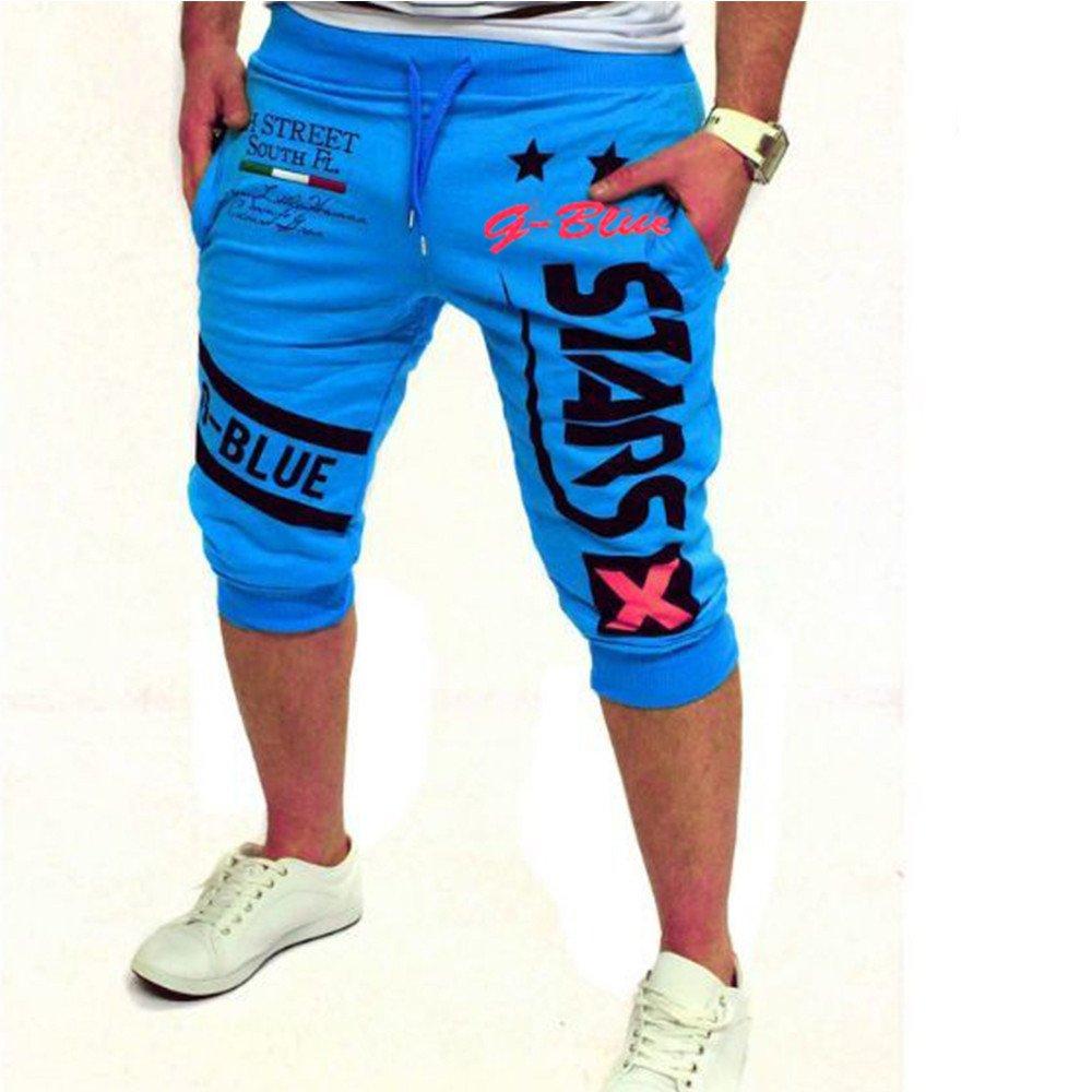 Fashion New Men's Casual Shorts 3/4 Jogger Capri Pants Printing Below Knee Sports Pants with Drawstring Elastic Waist Beige SSYUNO