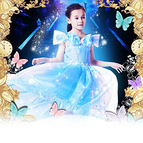 Wawoo 2015 New Cinderella Design Dress for Girls Costume Princess Party Dresses 2-7X (Fit for girls tall 120cm, Blue-2 of style)