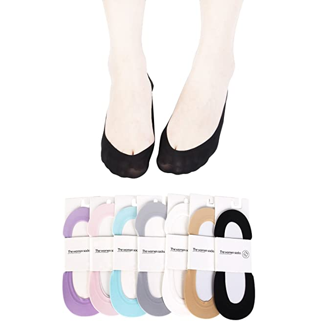 e118e23d6 Women No Show Sock Low Cut Non Slip Antiskid Lace Invisible Sock 7 Pairs  Summer Cotton Flat Liners Socks