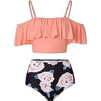 Kaei&Shi High Waisted Flounce Bikini Set,Tummy Control Swimsuits for Women,Off Shoulder