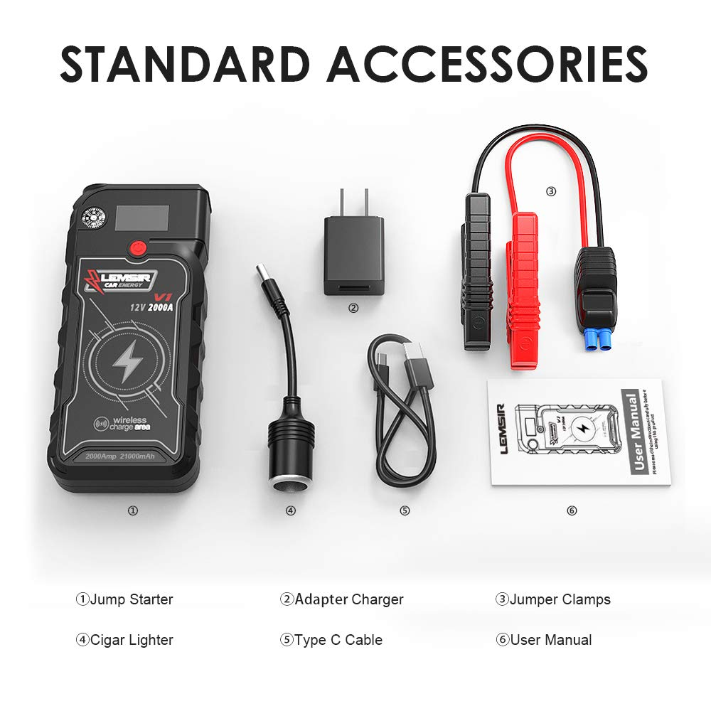 LEMSIR V1 QDSP 2000A Peak 21000mAh Car Jump Starter, Portable 12V Auto Battery Jumper up to 8.0L Gas, 8.0L Diesel, Booster Power Pack with Smart Jumper Cables,Wireless Charger by LEMSIR (Image #2)