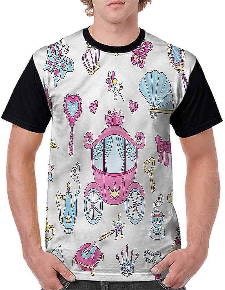 BlountDecor Loose T Shirt,Princess Tiara Wand Fairytale Fashion Personality Customization