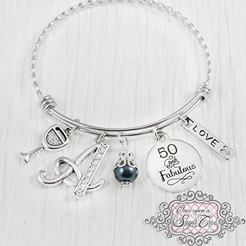 Best Friend 50th Birthday Charm Bracelet with Gift Box Women's Jewellery U8jH6sIY