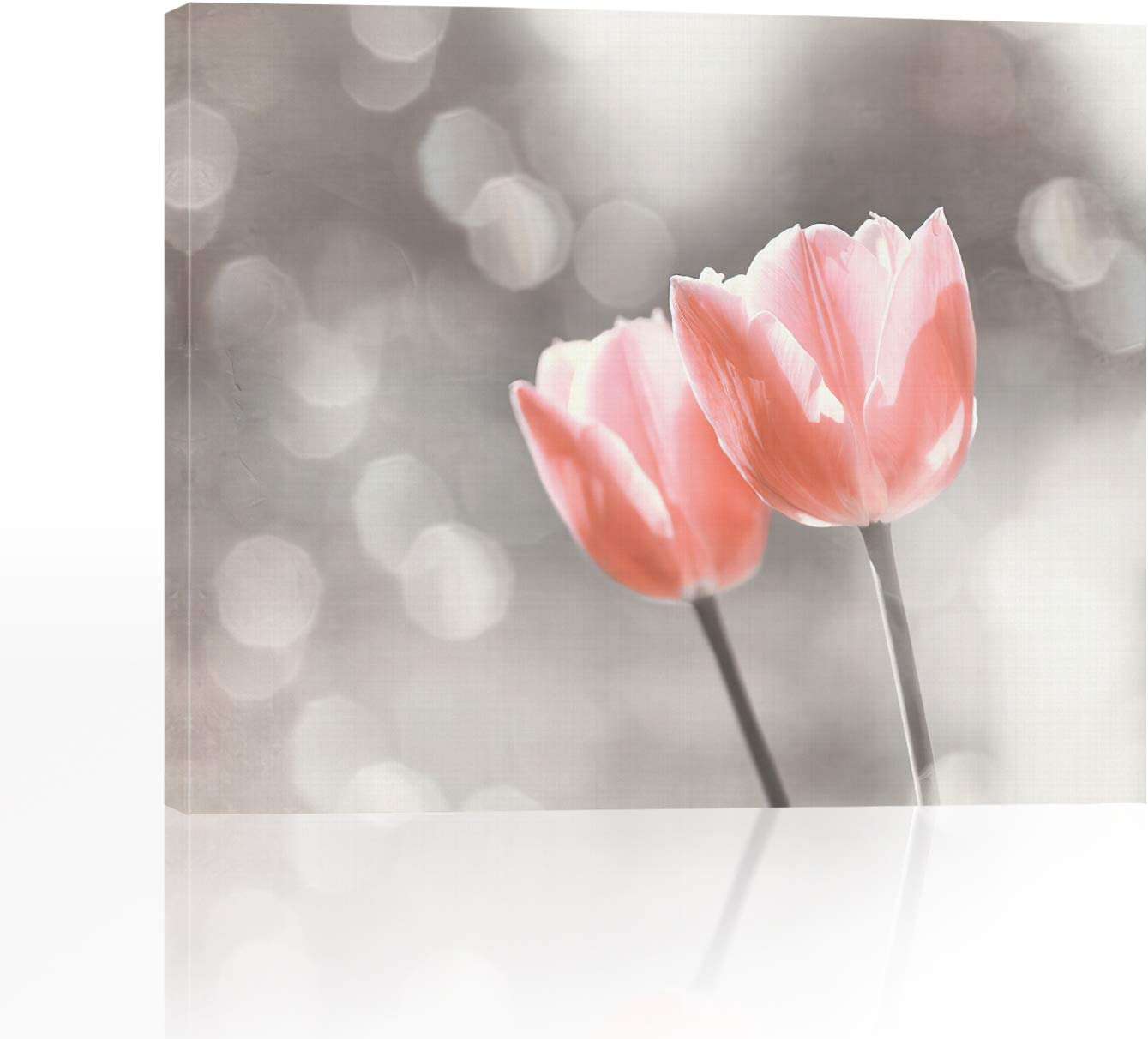 Lib Bathroom Decor Wall Art, Pink Tulip Floral Wall Art, HD Print of Landscape Canvas Wall Art for Living Room Ready to Hang 12x16inch