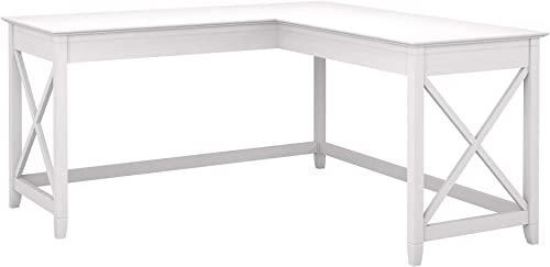 Bush Furniture Key West 60W L Shaped Desk, Pure White Oak