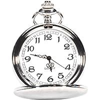 nicerio clásico, Reloj unisex hombres mujeres reloj de cuarzo de bolsillo con cadena de collar reloj de bolsillo mecánico para regalo. Plata