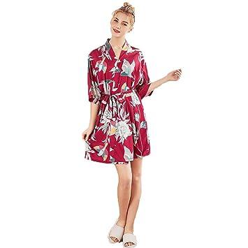 Forall-Ms Bata De Satén para Mujer, Bata De Seda, Pijama De Encaje, Camisón Corto, Sexy para Mujer, Albornoz,Red-XL: Amazon.es: Hogar