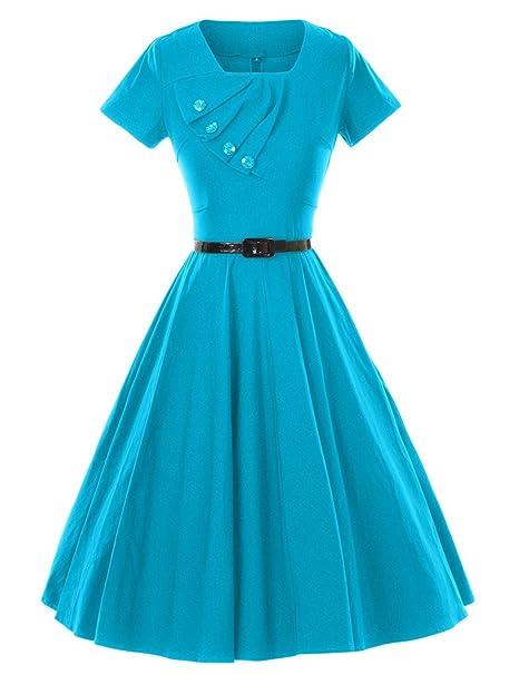 GownTown 1950s Retro Vintage de manga corta fiesta Swing elástico vestidos - Azul - S