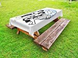 Ambesonne Zodiac Gemini Outdoor Tablecloth, Watercolor Backdrop and Constellation with The Twins and Harp, Decorative Washable Picnic Table Cloth, 58 X 104 inches, Pale Blue Black and White