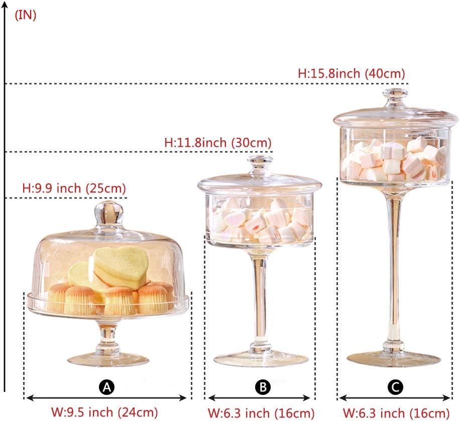 transparente para bodas vidrio transparentes dulces Yinmake Jarras de cristal para dulces buf/é 1.6L//1.8L//1.8L decoraci/ón del hogar para fiestas con tapas 3PCS- hechas a mano