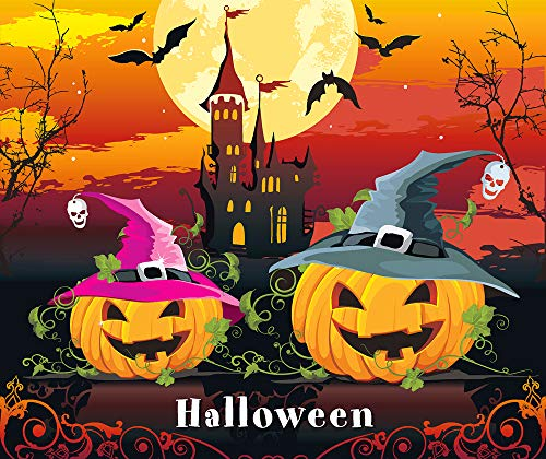 DIY Handwork Store 5D DIY Halloween Cartoon Pumpkin Diamond Painting Kit Full Square New Arrival Crow Tree Tower Pictures of Rhinestones(16.93''x 19.69'')
