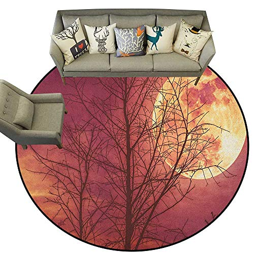 Dark Red,Kids Floor mats Night Sky Super Moon Behind Silhouette of Dead Tree Serenity Nature D48 Anti Slip House Kitchen Door Area - Rug Serenity Small