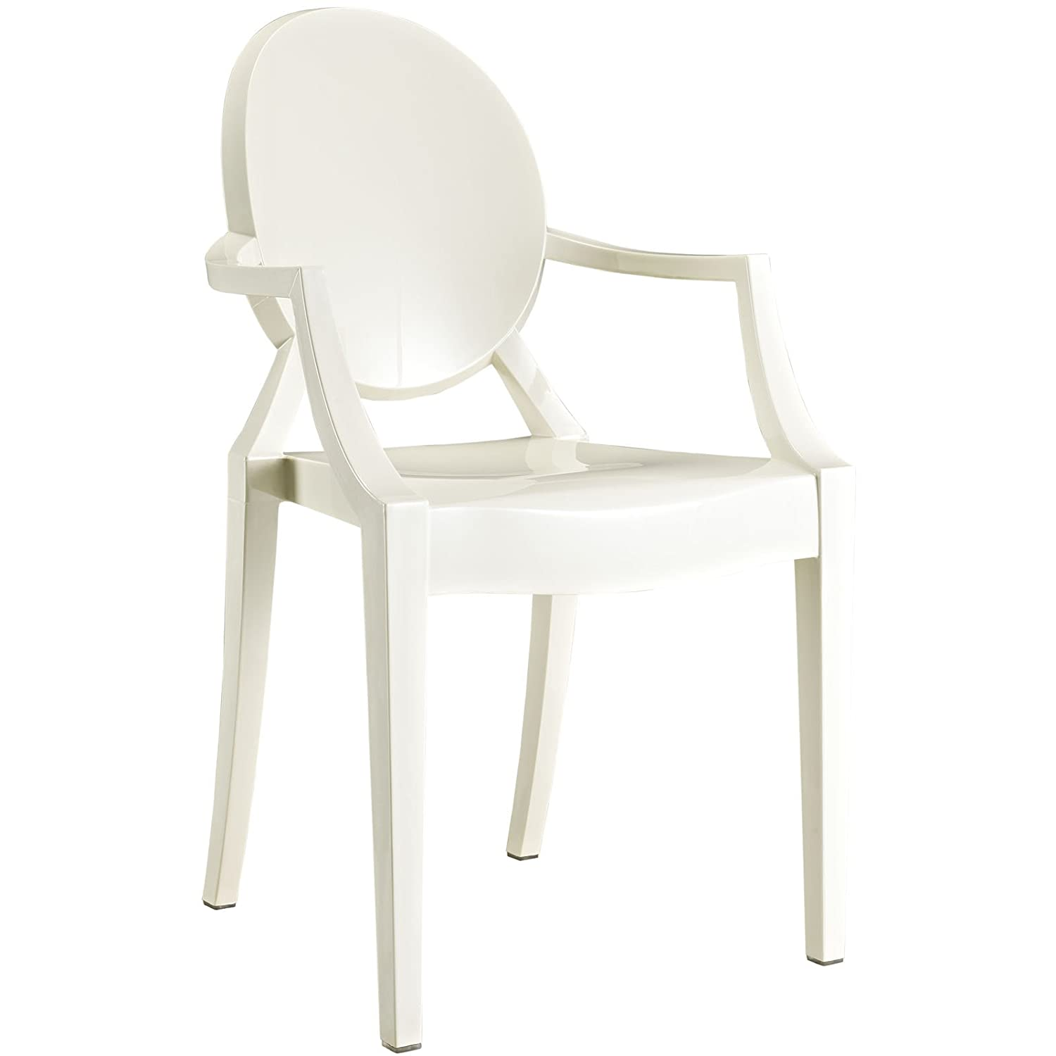 Amazon.com   Modway Casper Modern Acrylic Dining Armchair In White   Chairs