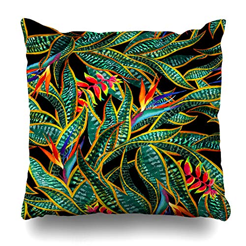 Ahawoso Throw Pillow Cover Exotic Blue Patter Dark Jungle Floral Heliconia Green Tropical Leaf Pattern Paradise Bird Emerald Home Decor Cushion Case Square Size 18