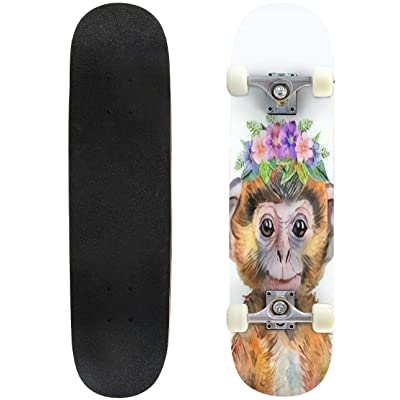 Classic Concave Skateboard Illustration of a Monkey with a Floral Wreath a Little red Monkey Longboard Maple Deck Extreme Sports and Outdoors Double Kick Trick for Beginners and Professionals : Sports & Outdoors