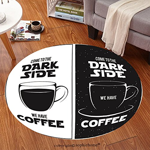 Sophiehome Soft Carpet 366149774 Dark side of coffee print Chalkboard vintage illustration Creative trendy design element for coffee shop or cafe advertising Anti-skid Carpet Round 79 inches - Sweeper Shop Floor Machines