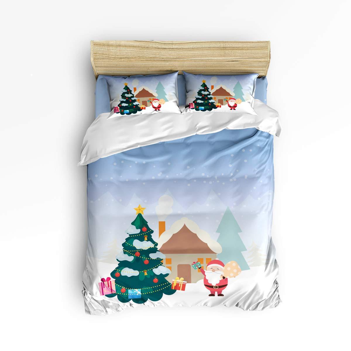 Valenake 高級掛け布団カバー4点セット メリークリスマステーマ寝具セット 隠しファスナー付き 超ソフト 耐久性 耐退色性 掛け布団なし クイーン VA20181130LTTSJTDCSSWTQ01570SJTCVAE B07KZW6B1X Santa Claus Christmas Treevae1790 クイーン